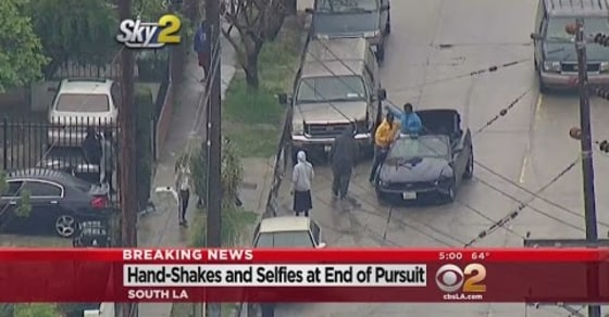 High-Speed Chase in LA Ends with Suspects Taking Selfies