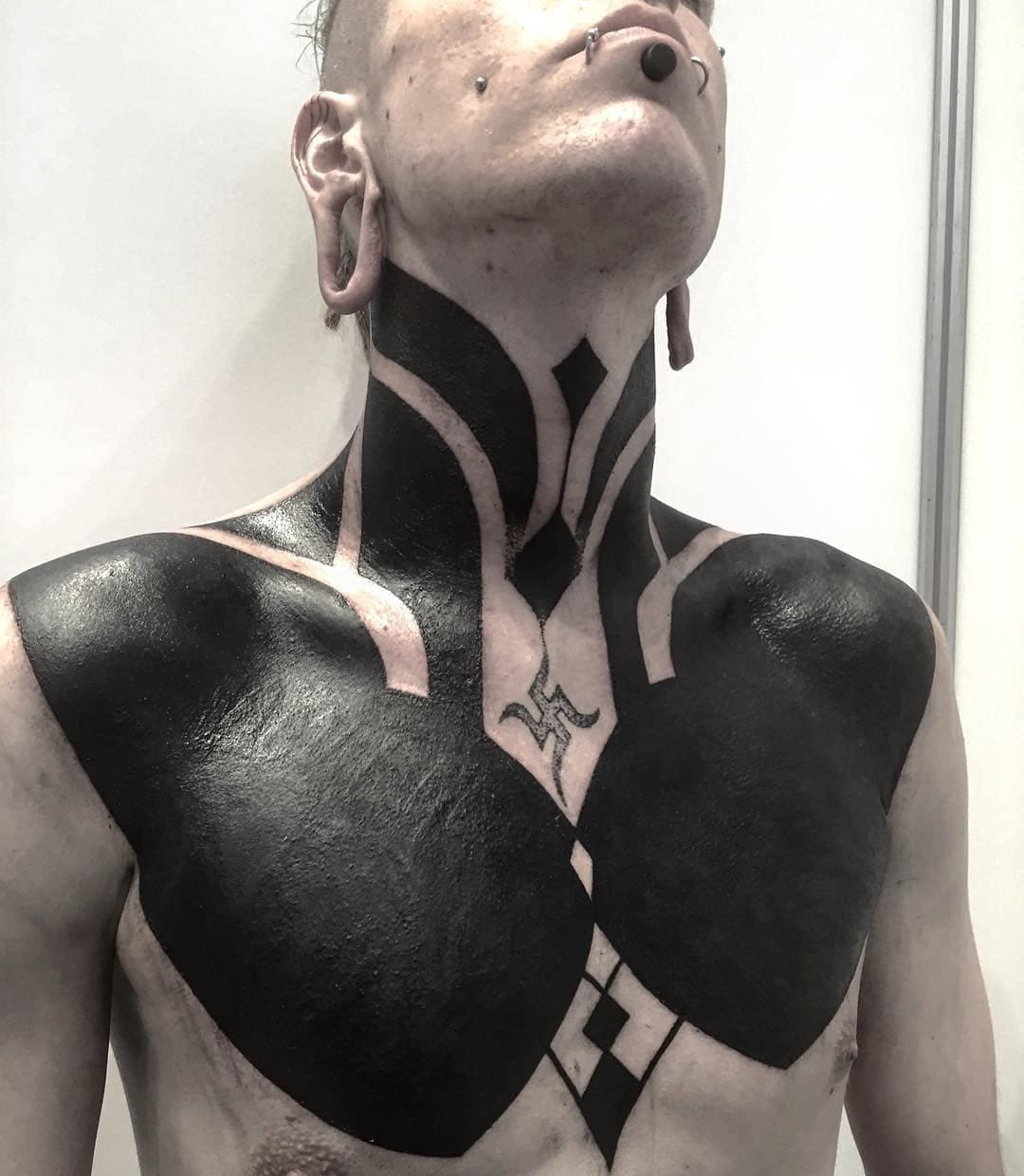 Image result for blackout tattoo chest